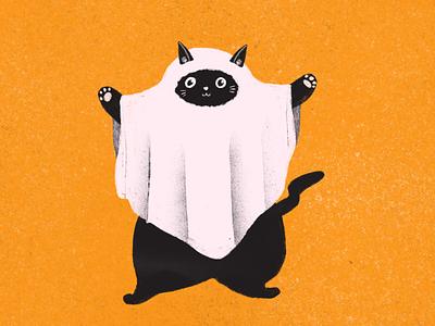 Happy Halloween ghost cat texture flat gesture pose design cute happy ghost illustration costume halloween cat