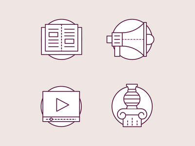 Event Management - Bits and pieces minimal clean outline vector icons graphics media event pictogram