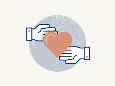 Love pt.2 pastel icon pictogram hands share soft outline love heart illustration