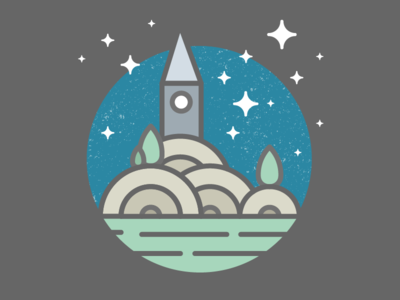 Tiny Landscape stars night mountain nature green illustrator pictogram illustration icon vector landscape