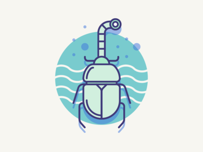 Submarine beetle pictogram icon flat blue vector illustration words insect beetle bug