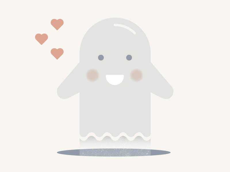 Ghost in love (Love pt.8) heart ghost love vector flat icons illustration