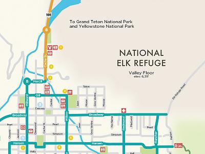 Friends Of Pathways wayfinding iconography jackson hole map design