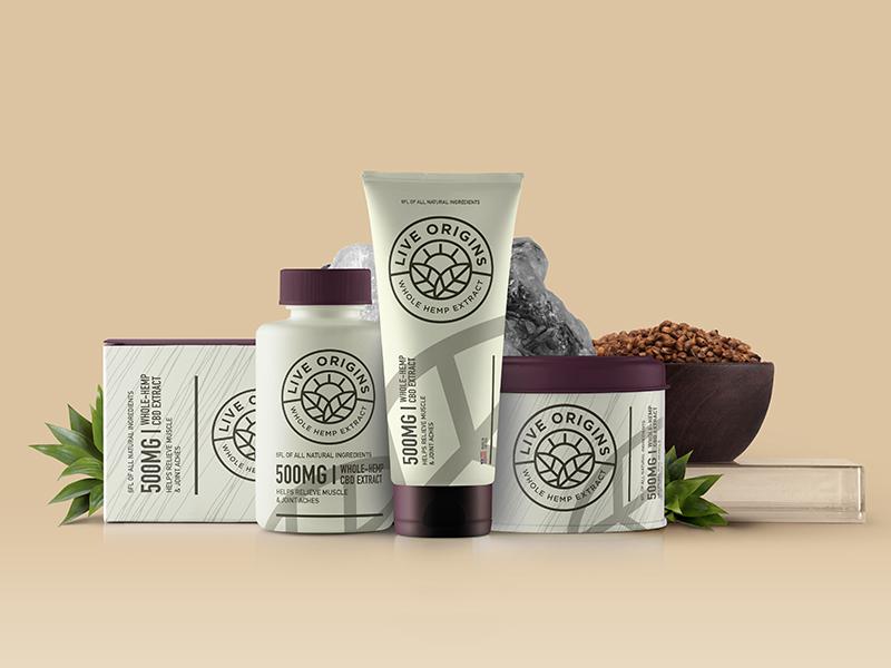 Live Origins Packaging sun hemp plant logo packaging
