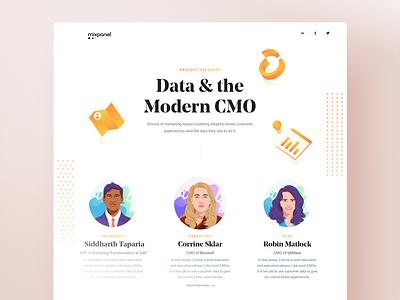 CMO Landing Hub branding blog cmo interview landing page design ui website layout data analytics