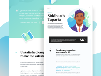 CMO Interview Page Green ux design illustration blog ui branding landing page website layout analytics data