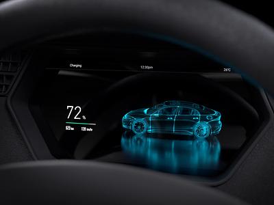 Car Charging HMI car particle x-particles c4d cluster dashboard car charging charging ui motion automotive car ui hmi motion design animation