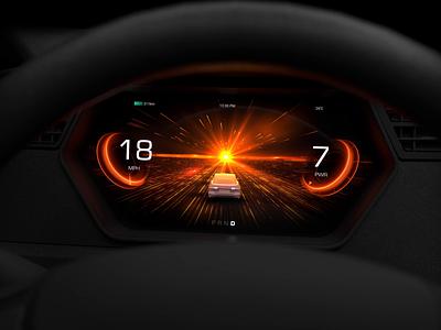 Acceleration mode HMI design for electric vehicle performance electric ui tesla electric vehicle acceleration sport dashboard clusters ui motion motion design automotive car ui hmi animation