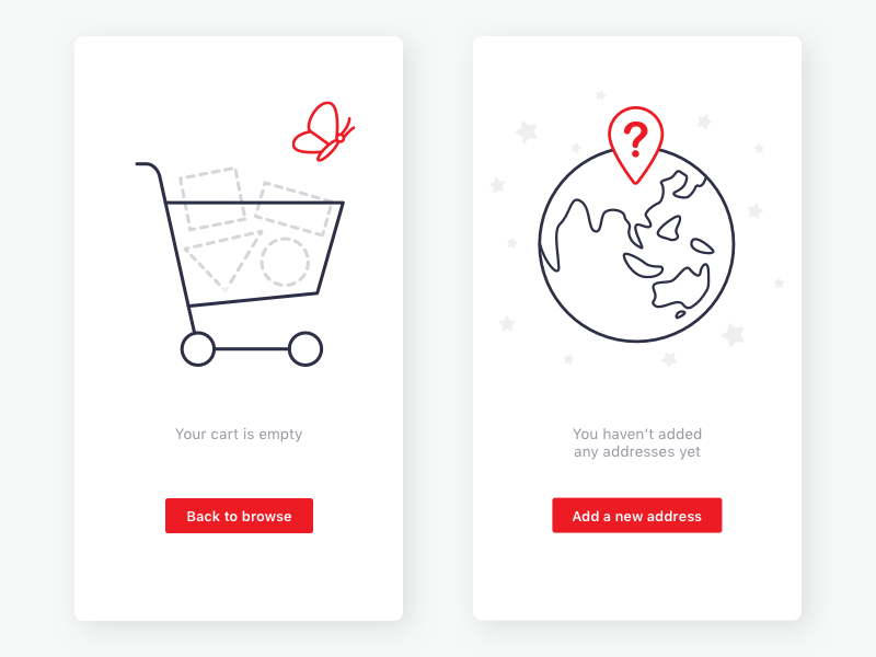 b548f6b707 Shopping Cart and Address Empty States by Leila Watson | Dribbble ...