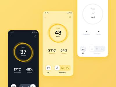 Air purifier control app concept yellow iot ios control system application ui app