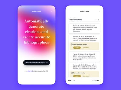 Online citation tool writing academic citations bibliography serif fonts list mobile ui gradients shadows app