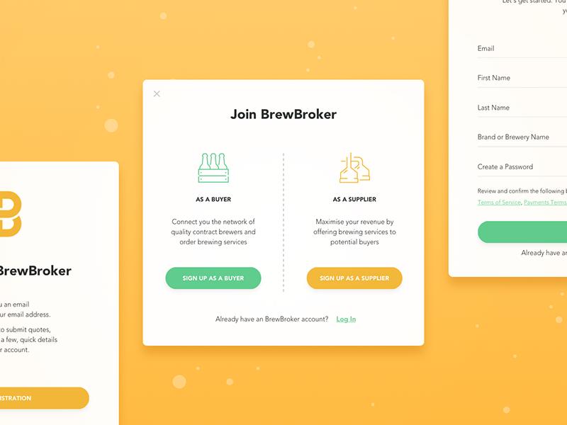 BrewBroker Registration Form sign in form create account register sign up log in modal window pop-up brewery beer