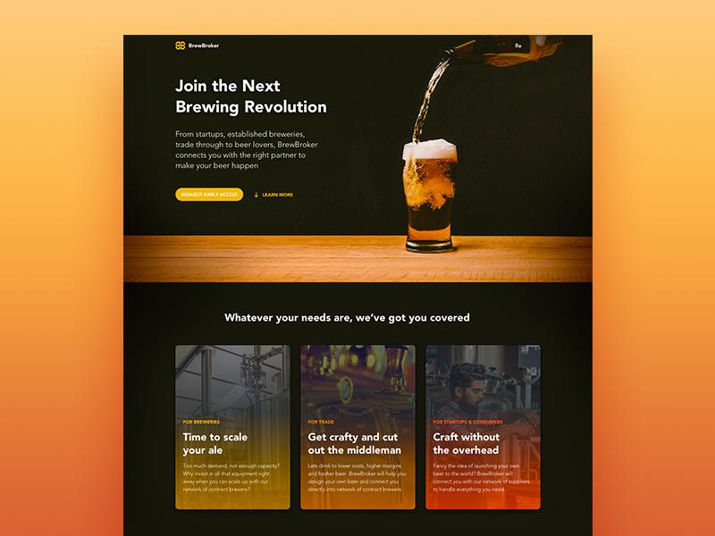 Brewbroker Homepage homepage landing website hero beer brew brewery drink bottle home cta