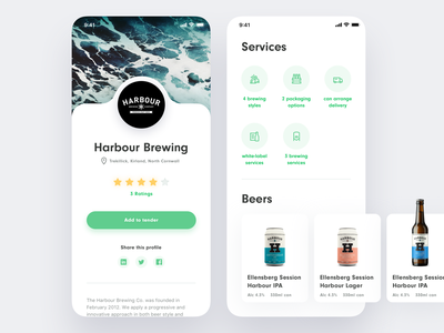 BrewBroker Brewery Profile iphone x ios glows rating store products card account profile application shadows icons mobile website