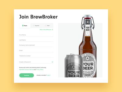 BrewBroker Registration beer illustration register create account sign up registration form shadows website