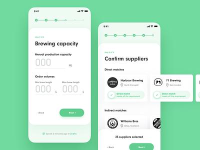BrewBroker multi-step forms shadows application app ios iphone x mobile inputs progressbar steps form website