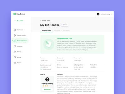 BrewBroker Dashboard dashboard design dashboard legal process flow tabs icons shadows app website