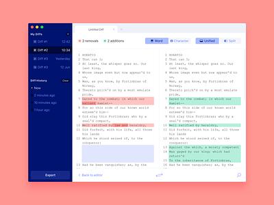 Diffchecker Text Comparision Tool tabs ui design comparision compare sidebar macos mac app application app