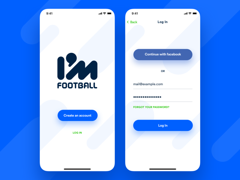 I'M Football – Registration onboarding sign in create account form sign up login registration buttons shadows application app