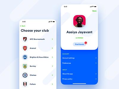I'M Football – Profile list avatar preferences settings account profile ios application app shadows