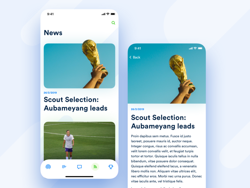 I'M Football – News post article magazine blog read articles news ios design application app
