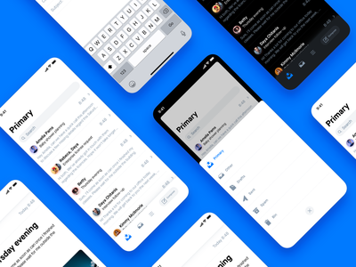 Mailing app concept icon design icons dark mode design app interface ui ux mobile ios scroll cards email messages inbox