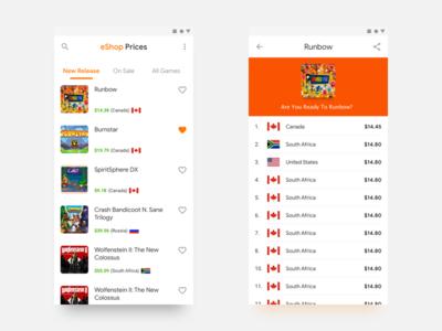eShop Prices App - Google Material Practices