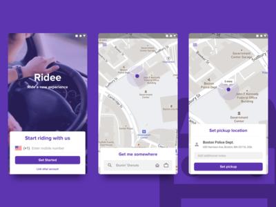 Ridee - Ride Sharing App Concept