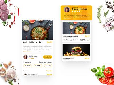 TIFFIN food ui food detail page cook profile yellow ui best ui food app dish food design vishal ui uiux