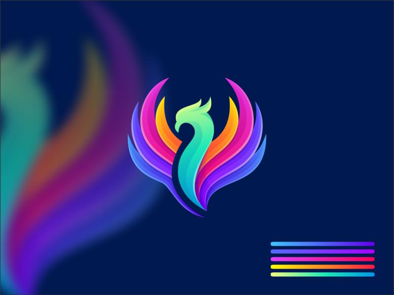 colorful phoenix logodesign phoenix app icon icon character branding illustrator simple colorful design identity logo