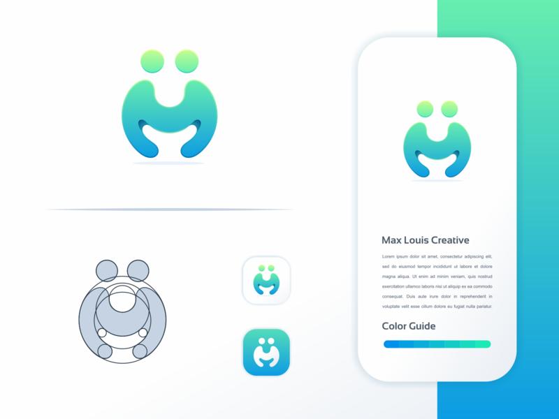 M people logo design logodesign illustrator simple icon ux ui illustration colorful brand branding design identity logo
