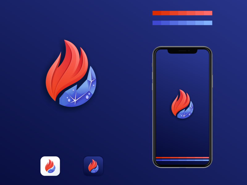 fire and ice logo fire ice logo ice logo fire logo ui illustrator simple colorful brand branding design identity logo