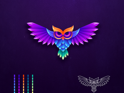 colorful owl logo ui owl icon owl logo owl character illustrator simple colorful branding design identity logo