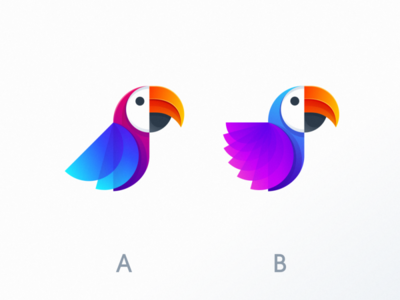 which one d you prefer? parrot logo bird bird logo icon cute logodesign illustrator simple colorful brand branding design identity logo