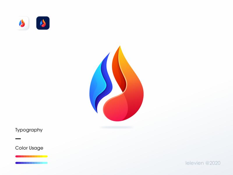 water fire logo water fire logo icon app business logodesign illustrator simple colorful brand branding design identity logo