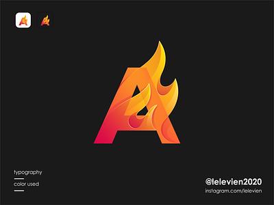 A flame ignite flare flame logo a logo letter cute logodesign illustrator simple colorful brand branding design identity logo