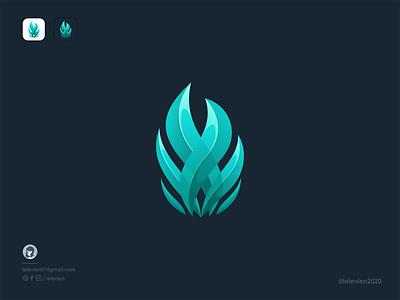 ocean flame blue ignite fire flame business logodesign cute illustrator simple colorful brand branding design identity logo