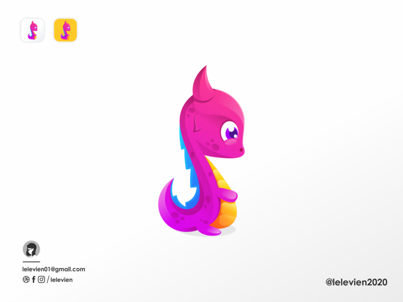 little dragon baby dragon business cute illustrator simple colorful brand branding design identity logo