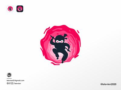 ninja logo pink japan color ninja logo ninja cute logodesign illustrator simple colorful brand branding design identity logo
