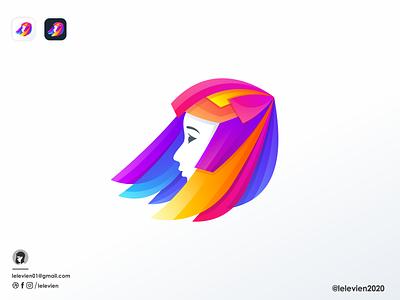 hair colored girl girl woman logodesign cute illustrator simple colorful brand branding design identity logo