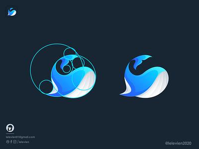 whale logo whale logo mascot sea ocean whale illustrator simple colorful brand branding design identity logo