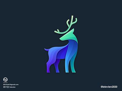 colorful deer logo stag deer illustrator simple colorful brand branding design identity logo