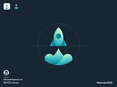 space ship spaceship space icon illustrator simple colorful brand branding design identity logo