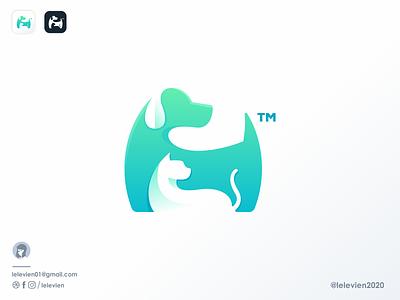 logo done for happygree cat dog pet character business logodesign cute illustrator simple colorful brand branding design identity logo