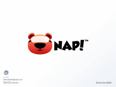"""NAP!"" cute bear logo design animal mascot mask bear logodesign cute illustrator simple colorful brand branding design identity logo"