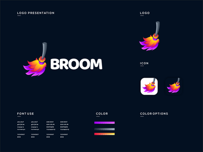 broom logo design broom logodesign cute illustrator simple colorful brand branding design identity logo