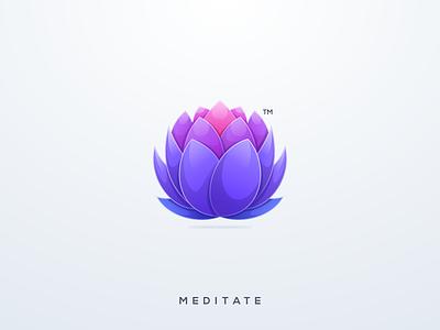 Meditate logo design flower yoga meditation lotus vector ui illustration simple colorful brand branding design identity logo