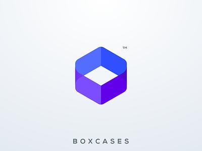 Boxcases logo design template business website app icon case box vector ui illustration simple colorful brand branding design identity logo