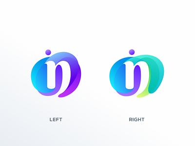 Left or Right? n logo illustration simple colorful brand branding design identity logo