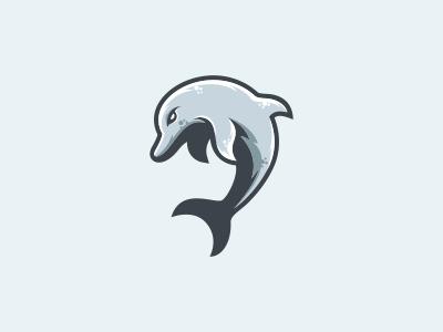 dolphin identity brand blues design logo